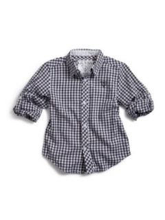 GUESS Kids Boys Big Boy Gingham Shirt With Roll Up Sleev