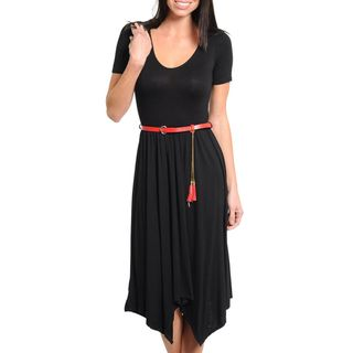 Stanzino Womens Short Sleeve Belted Black Dress