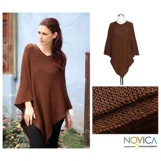 Alpaca Wool Splendid Earth Poncho (Peru)