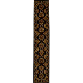Handmade Heritage Mahal Black Wool Runner (23 x 16)