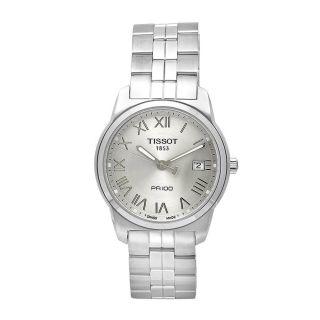 Tissot Mens PR 100 Stainless Steel Roman Numeral Watch
