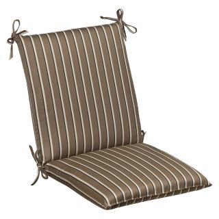 Pillow Perfect Outdoor Brown/ Beige Striped Chair Cushion Squared with