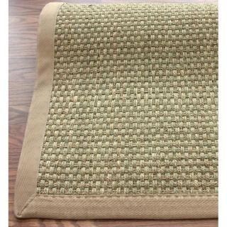 Handmade Eco Natural Fiber Beige Cotton Border Seagrass Rug (8 x 10