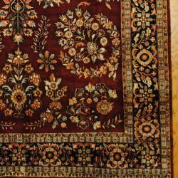 Indo Hand knotted Sarouk Burgundy/ Navy Wool Rug (79 x 101
