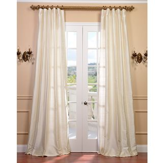 Signature Pearl White 96 inch Textured Silk Curtain