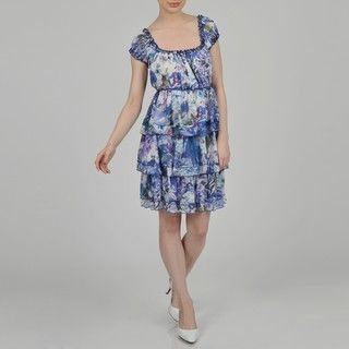 Argenti Womens Floral Print Puff Cap Sleeve Peasant Neck Tiered Dress