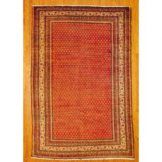 Persian Hand knotted Tribal Sarouk Mir Salmon/Ivory Wool Rug (67 x 10