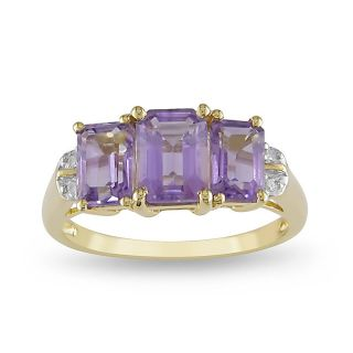 Miadora 10k Yellow Gold Emerald Cut Amethyst Ring
