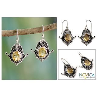 Sterling Silver Spellbound Citrine Dangle Earrings (India