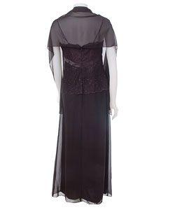 Patra Black Glitter Lace & Chiffon Dress