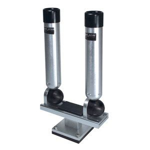 Big Jon Dual Multi Set Rod Holder Pedestal Mount   Silver