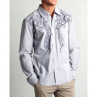 191 Unlimited Mens Slim Fit Grey Embroidered Woven Shirt