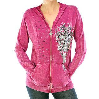 Vocal Womens Long Sleeve Rhinestone Cross Hoodie