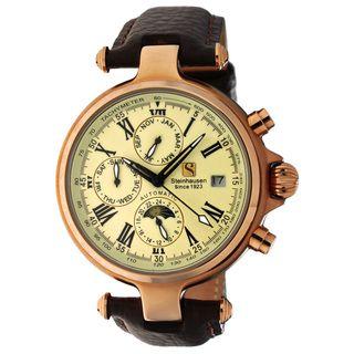 Steinhausen Mens Three Eyes Automatic Rose Gold Case Cream Dial Watch