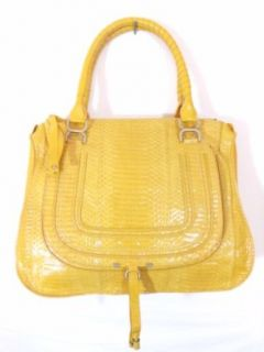 BESSO Yellow Snakeskin Luxury Italian Handbag Tote Bag