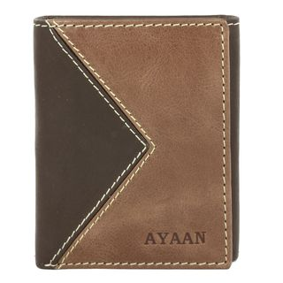 AYAAN Mens Leather Two tone Tri fold Wallet