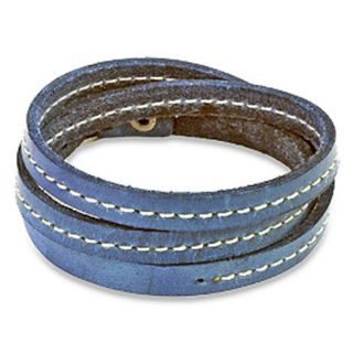 Distressed Blue Triple Wrap Leather Bracelet