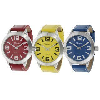 Geneva Platinum Womens White Stitching Strap Watch