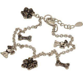 Dog Lovers Charm Bracelet with Genuine Marcasite Jewelry