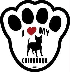 I Love My Chihuahua Dog Pawprint Window Decal Pet