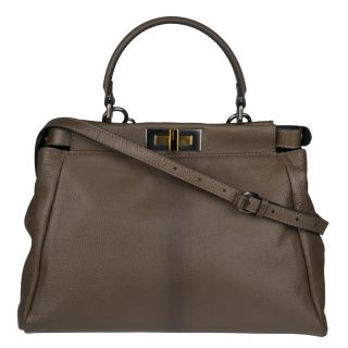 Fendi Peek A Boo Small Olive Green Satchel Handbag