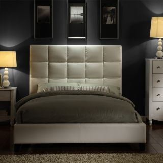 ETHAN HOME Sarajevo White Vinyl Column King size Platform Bed Today $