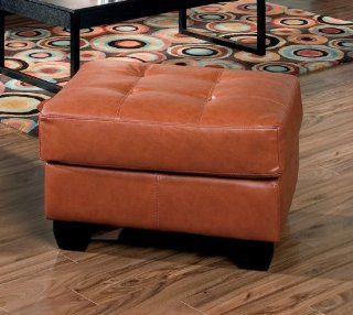 Contemporary Tufted Light Brown Bonded Leather Coffee