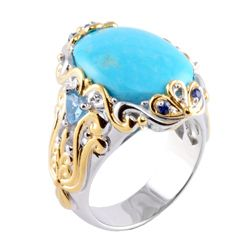 Michael Valitutti Two tone Turquoise, Swiss Blue Topaz and Sapphire