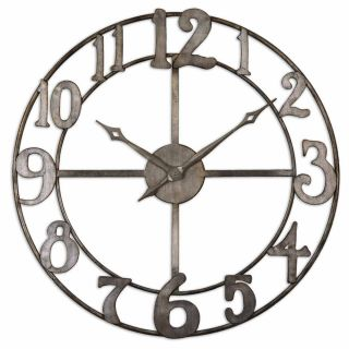 inch Antiqued Silver Leaf Metal Wall Clock Today $206.80