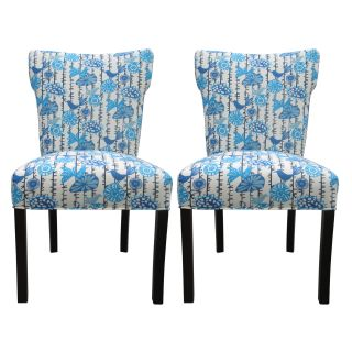 Bella Menagerie Blue Bird Upholstered Dinning Chairs (Set of 2) Today