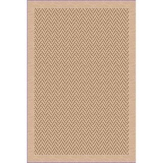 Woven Indoor/ Outdoor Herringbone Lt Brown/ Beige Patio Rug (79 x 11