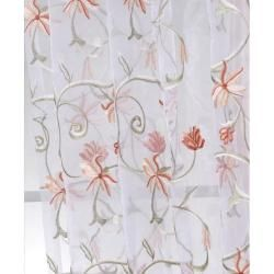 White Embroidered Organza 108 inch Sheer Curtain Panel