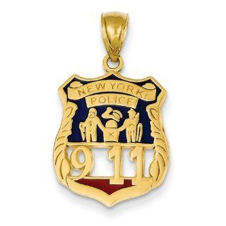 14k Enameled New York Police 911 Badge Pendant Jewelry