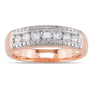 Miadora Pink Rhodium plated Silver Created White Sapphire Ring