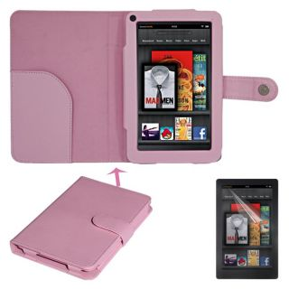 SKQUE  Kindle Fire Button Leather Case/ Screen Protector