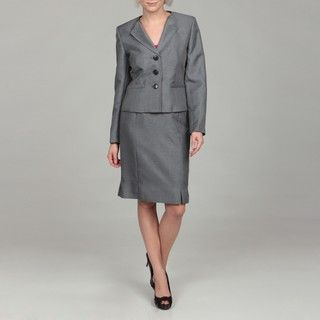 Kasper Womens Navy Three button Jacket Skirt Suit