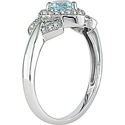Miadora 10k White Gold Diamond and Blue Topaz Heart Ring