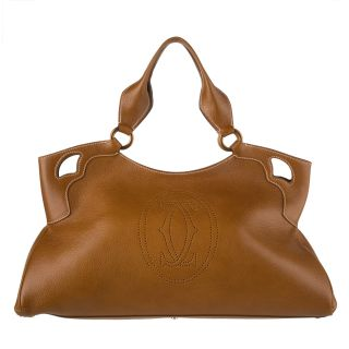 Cartier Brown Pebbled Leather Tote Bag