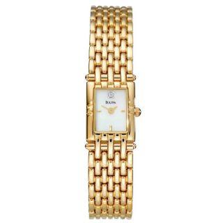 Bulova Womens Dress Goldplated Stainless Steel Quartz Watch