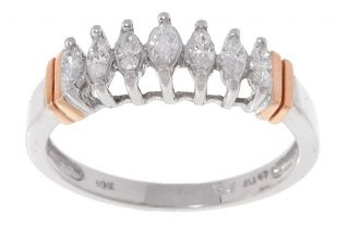 10kt Two tone Gold 1/4 ct Diamond Marquise 7 stone Anniversary Ring