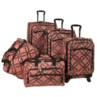 American Flyer Clover Metallic 5 piece Pink Expandable Spinner Luggage