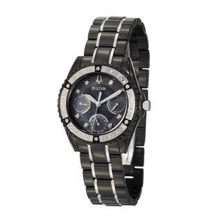 Bulova Womens Diamonds Black Stainless Steel Quartz Watch