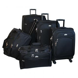 American Flyer South West Expandable 5 piece Black Spinner Luggage Set