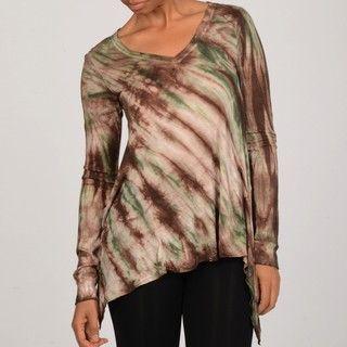Elan Womens Tie Dye Long Sleeve Poncho Top
