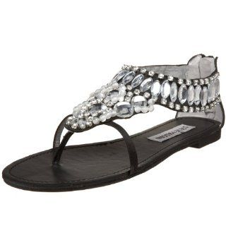 Steve Madden Womens Spaced Flat Sandal,Rhinestone,5.5 M US Shoes