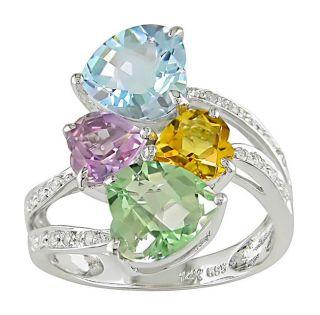 14k Gold Multi Color Semi Precious Stone Heart Ring