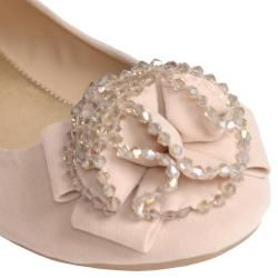 Journee Collection Womens Crush 01 Flower Beaded Front Ballet Flats