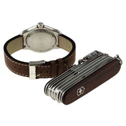 Swiss Army Mens Officers Watch and Rosewood SwissChamp Knife Gift