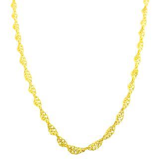 Fremada 14k Yellow Gold Diamond cut Twisted Infinity Link Necklace