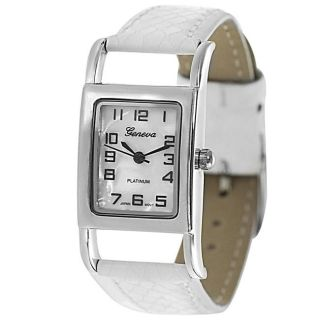 Geneva Platinum Womens Mother of Pearl Lizard Pattern Strap Watch